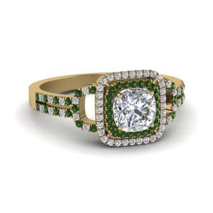 Pave Set Emerald Double Halo Ring