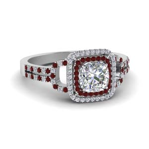Double Halo Ruby Wedding Ring