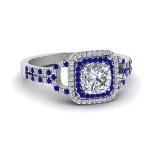 Sapphire Double Halo Wedding Ring