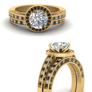 Black Diamond Round Halo Ring Set