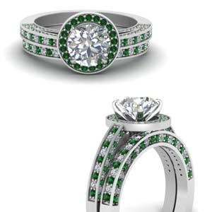 Emerald Halo Wedding Set