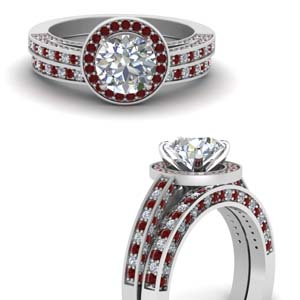 Ruby Halo Wedding Ring Set