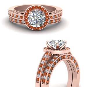 Rose Gold Round Halo Wedding Set
