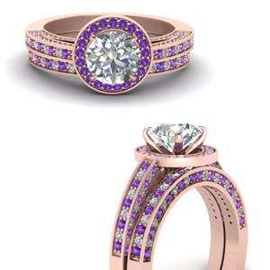 Pave Purple Topaz Wedding Set