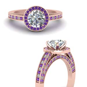 Purple Topaz Pave Halo Ring