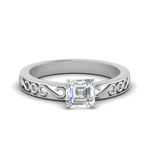 Platinum Filigree Single Stone Ring