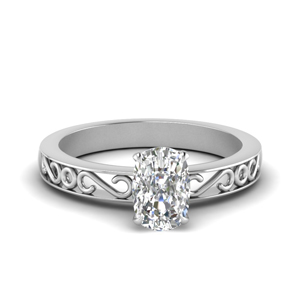 Filigree Cushion Cut Single Stone Engagement Ring In 14K White Gold