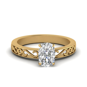 Filigree Single Stone Ring Gold