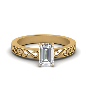 Filigree Emerald Cut Single Stone Engagement Ring In 14K Yellow Gold