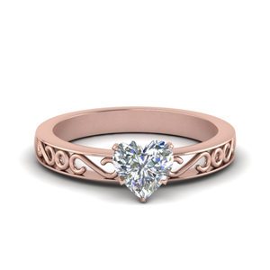 Filigree Heart Shaped Single Stone Engagement Ring In 14K Rose Gold