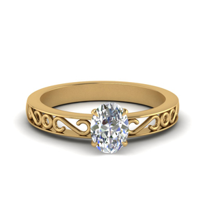 Filigree Oval Shaped Single Stone Engagement Ring In 18K White Gold