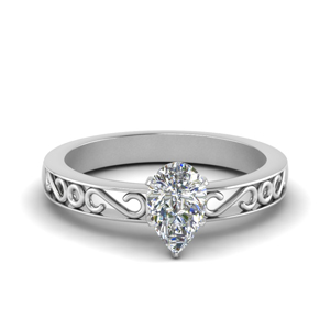 Filigree Pear Shaped Single Stone Engagement Ring In 18K Rose Gold