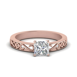 Filigree Princess Cut Single Stone Engagement Ring In 14K White Gold