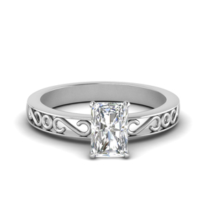 Filigree Radiant Cut Single Stone Engagement Ring In 14K Yellow Gold