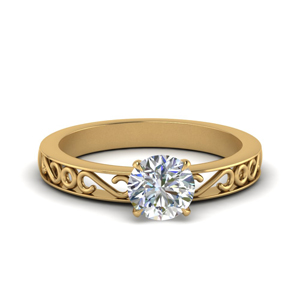 Filigree Round Cut Single Stone Engagement Ring In 14K White Gold