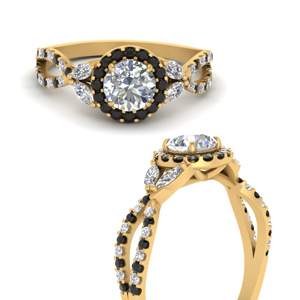 floral-split-shank-round-cut-halo-engagement-ring-with-black-diamond-in-FDENS3303RORGBLACKANGLE3-NL-YG