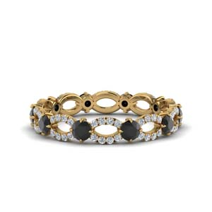 black and white diamond eternity band in 14K yellow gold FDEWB8376BGBLACK NL YG