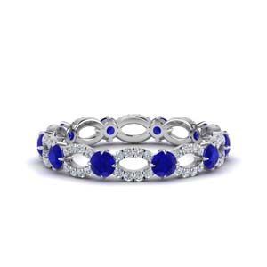 sapphire and diamond eternity ring in 14K white gold FDEWB8376 BGSABL NL WG