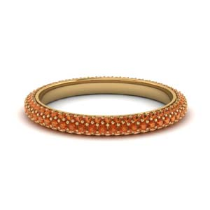 1 Ct. Micro Pave Orange Sapphire Band