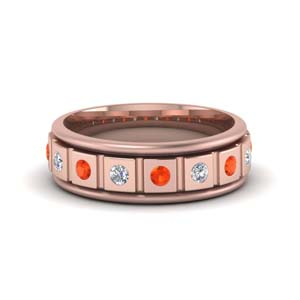 Orange Topaz Block Design Flush Band