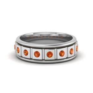 Single Tone Orange Sapphire Band