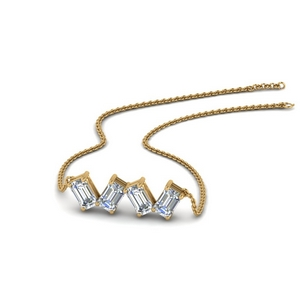 0.80 Ct. Emerald Cut Gold Necklace