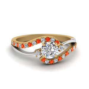 Swirl 2 Tone Ring With Orange Topaz