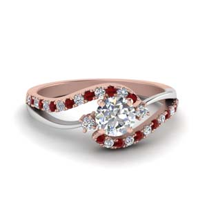 Swirl Engagement Ring With Ruby Accents