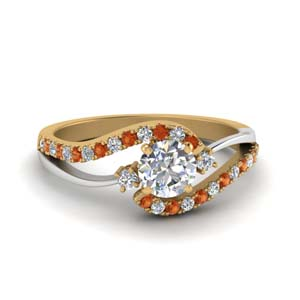 Beautiful Orange Sapphire Two Tone Ring