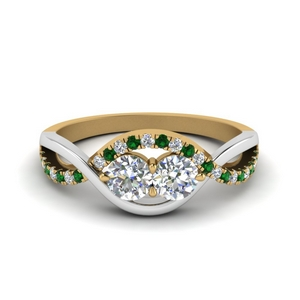 Emerald & Diamond  Multi Gold Band
