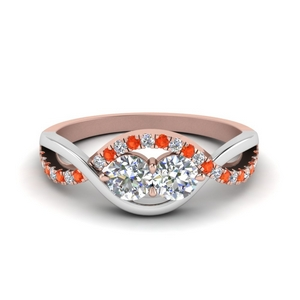 Two Tone Orange Topaz Twisted Ring
