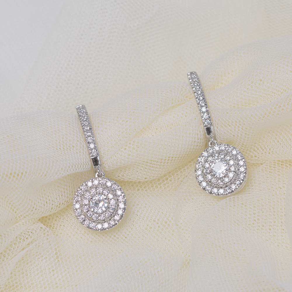 2 Tone Hoop Drop Diamond Earring