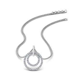 Double Circle Diamond Pendant