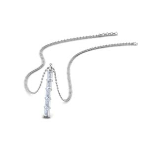 Platinum Baguette Bar Necklace