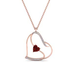 Beautiful Heart Design Ruby Pendant