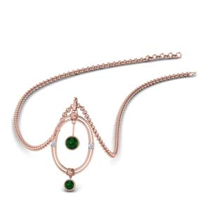 14K Rose Gold Emerald Pendant