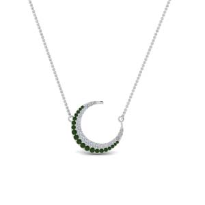 Emerald Moon Pendant Necklace