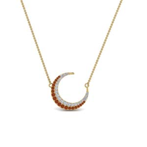 Half Moon Orange Sapphire Necklace