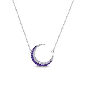 Purple Topaz Moon Platinum Pendant