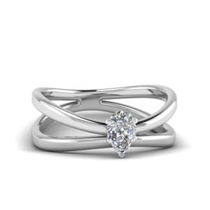 reversed split pear shaped solitaire engagement ring in FD1008PER NL WG