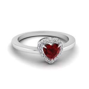 Ruby Engagement Ring 14K White Gold