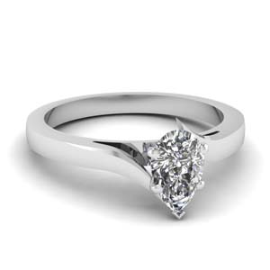 tapered twisted solitaire engagement ring in 14K white gold FD1020PER NL WG