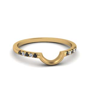 Yellow Gold Curved Black Diamond Band