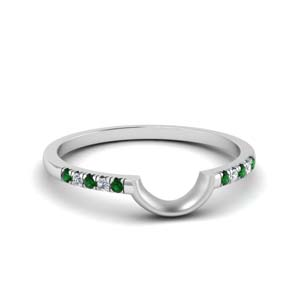 Curved French Pave Emerald Band
