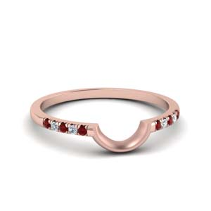 Curved French Pave Ruby Band