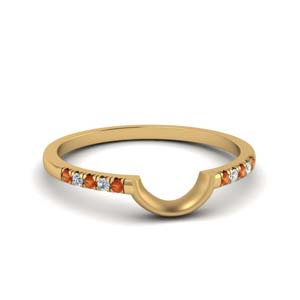 French Pave Orange Sapphire Band