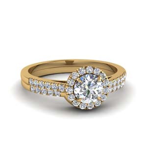 Round Halo Lab Grown Diamond Ring Set