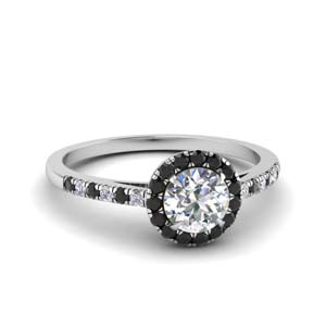 French Pave Black Diamond Ring