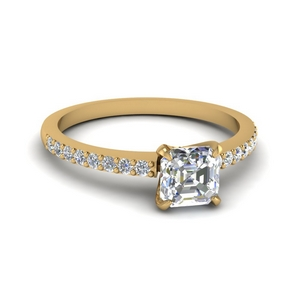 Delicate Asscher Diamond Engagement Ring