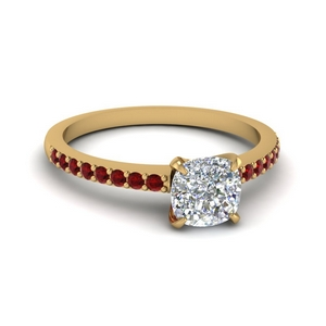 0c42c8c65202c2 Delicate Diamond Engagement Ring Cushion Cut diamond Petite Engagement Rings  with Red Ruby in 14K Yellow Gold [ Setting + Center Stone ]